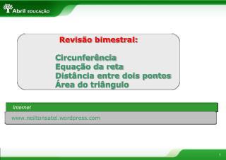 Revisão bimestral: Circunferência Equação da reta Distância entre dois pontos Área do triângulo