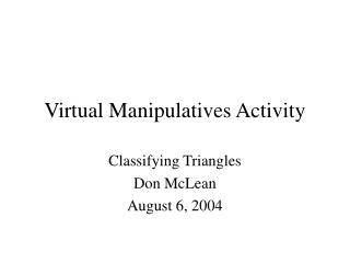 Virtual Manipulatives Activity