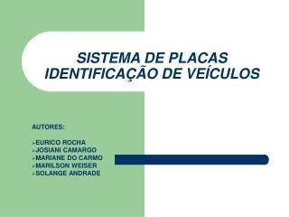 SISTEMA DE PLACAS  IDENTIFICAÇÃO DE VEÍCULOS