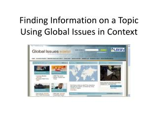 Finding Information on a Topic Using Global Issues in Context