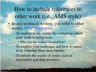 How to include references to other work (i.e., AMS style)