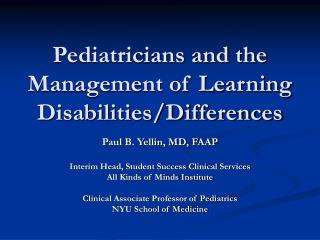 Pediatricians and the Management of Learning Disabilities