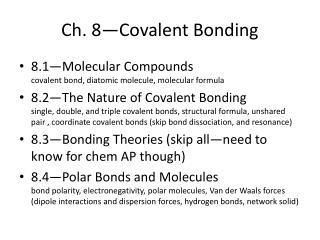 Ch. 8 Covalent Bonding