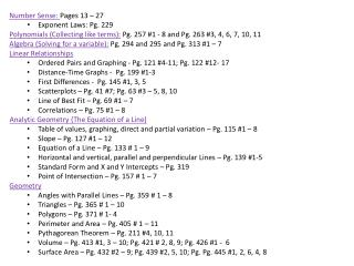 Number Sense:  Pages 13 – 27 Exponent  Laws: Pg. 229