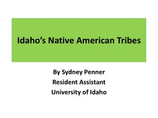 Idaho s Native American Tribes