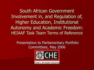 Presentation to Parliamentary Portfolio Committees, May 2006
