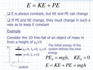 E is always constant, but KE and PE can change
