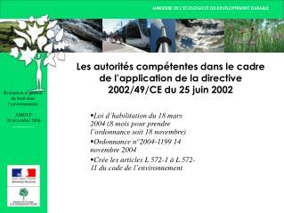 Loi d'habilitation du 18 mars 2004 (8 mois pour prendre l'ordonnance soit 18 novembre)