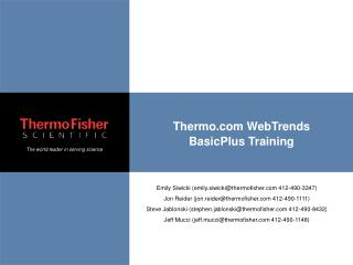 Thermo WebTrends BasicPlus Training