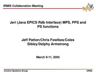 Jeri (Java EPICS Rdb Interface) MPS, PPS and PS functions