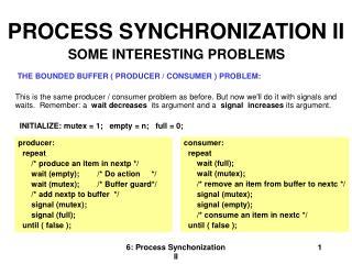 PROCESS SYNCHRONIZATION II