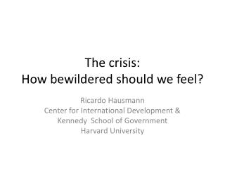 The crisis: How bewildered should we feel?