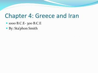 Chapter 4: Greece and Iran