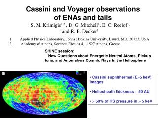 Cassini and Voyager observations of ENAs and tails