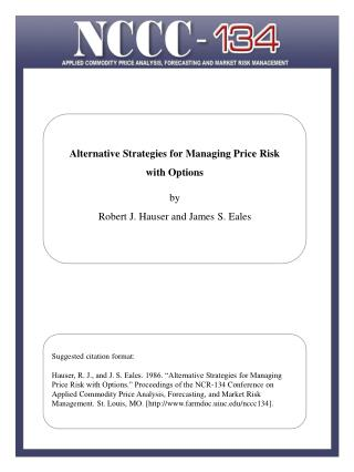 Estimating the Effects of Risk on the Supply of Storage by Joseph W. Glauber