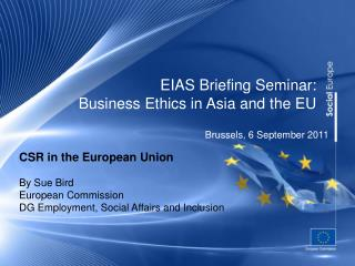 EIAS Briefing Seminar: Business Ethics in Asia and the EU