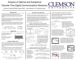 Analysis of Optimal and Suboptimal Discrete-Time Digital Communications Receivers