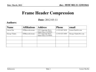 Frame Header Compression