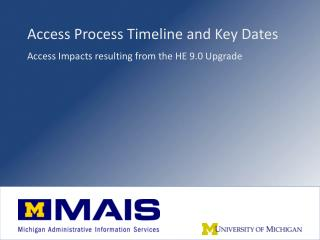 Access Process Timeline and Key Dates