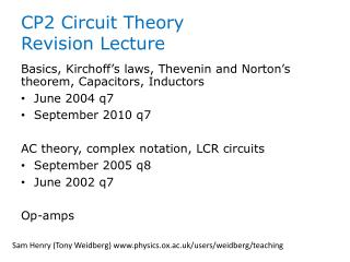CP2 Circuit Theory  Revision Lecture
