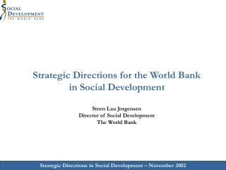 The World Bank  Social Development Strategy