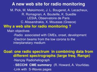 Why a web site for radio monitoring ? Main objectives