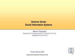 Seminar Series Social Information Systems