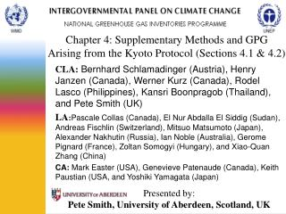 Chapter 4: Supplementary Methods and GPG  Arising from the Kyoto Protocol (Sections 4.1 & 4.2)