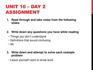 Unit 10 � Day 2 Assignment