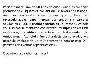 ECG Nº 1    ingreso a UCC