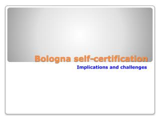 Bologna self-certification