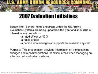 2007 Evaluation Initiatives