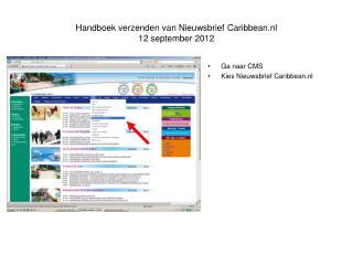 Handboek verzenden van Nieuwsbrief Caribbean.nl 12 september 2012