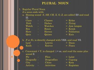 PLURAL  NOUN Regular Plural Noun if a noun ends with: