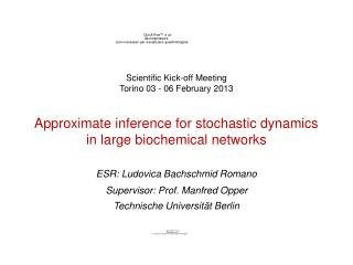 Approximate inference for stochastic dynamics in large biochemical networks