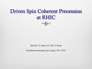 Driven Spin Coherent Precession at RHIC