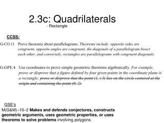 2.3c: Quadrilaterals