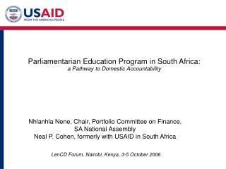 P arliamentarian Education Program in South Africa:   a Pathway to Domestic Accountability
