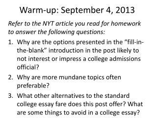 Warm-up: September 4, 2013