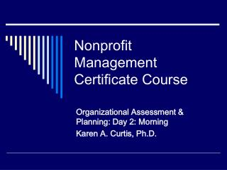 Nonprofit Management Certificate Course