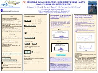 P2.1  ENSEMBLE DATA ASSIMILATION: EXPERIMENTS USING NASA'S GEOS COLUMN PRECIPITATION MODEL
