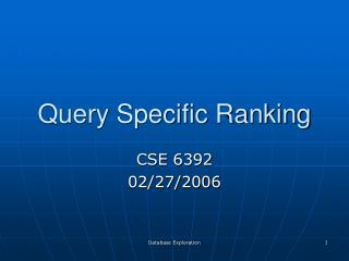 Query Specific Ranking