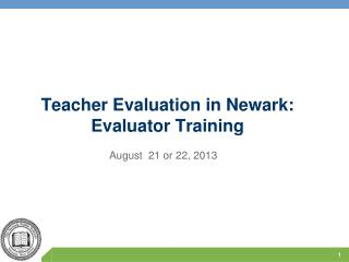 Teacher Evaluation in Newark: Evaluator Training