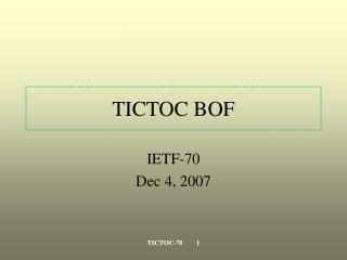 TICTOC BOF