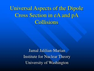 Universal Aspects of the Dipole Cross Section in eA and pA Collisions