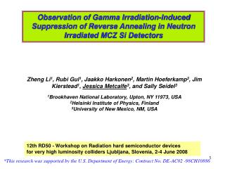 *This research was supported by the U.S. Department of Energy: Contract No. DE-AC02 -98CH10886