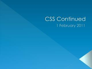 CSS Continued