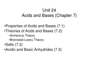 Unit 24 Acids and Bases (Chapter 7)