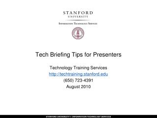Tech Briefing Tips for Presenters