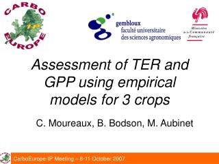 Assessment of TER and GPP using empirical models for 3 crops